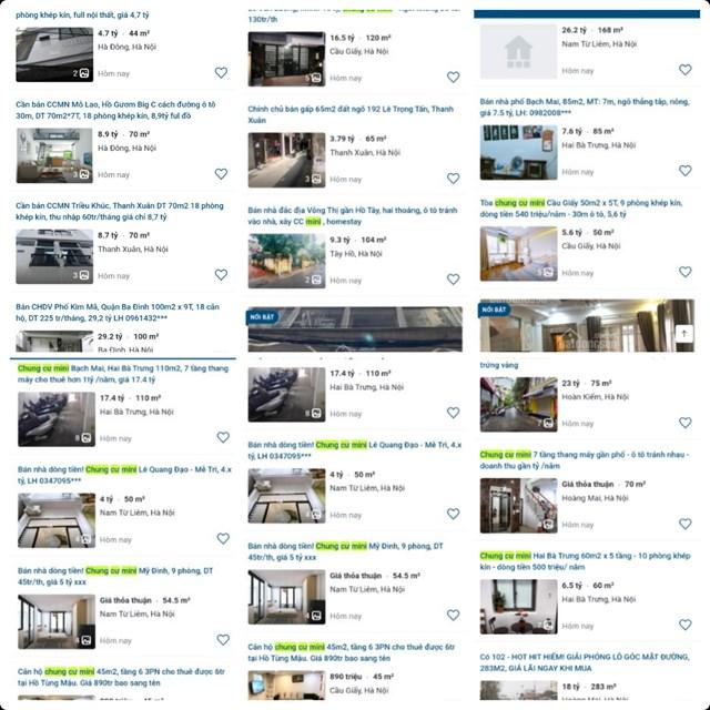 Hàng trăm chung cư mini đang được rao bán tại Hà Nội.
