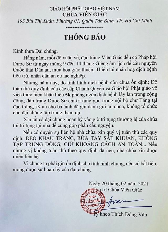 Chùa Viên Giác khuyến cáo Phật tử cầu nguyện tại nhà để phòng dịch Covid-19 - Ảnh 1