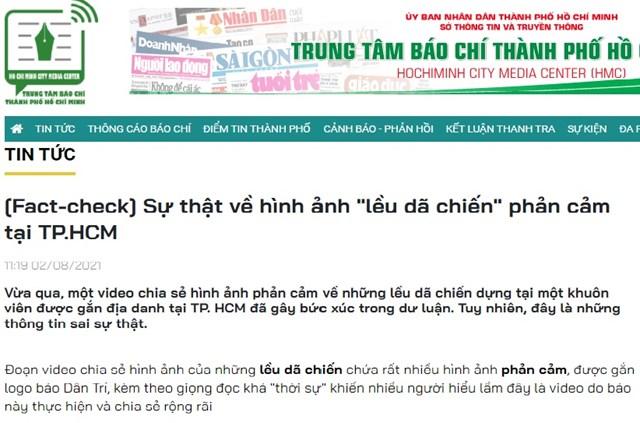 Phản bác của Trung tâm Báo chí TP Hồ Chí Minh về thông tin sai sự thật vào ngày 2/8.