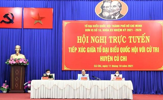 Chủ tịch nước cùng các ĐBQH thuộc đơn vị số 10 tiếp xúc cử tri huyện Củ Chi.