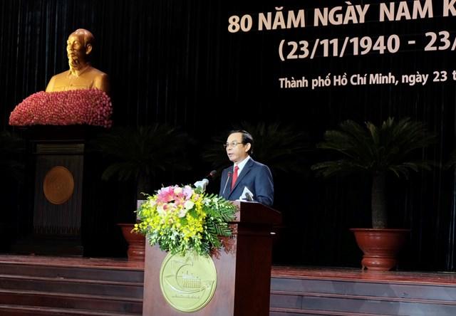 Ông Nguyễn Văn Nên, Bí thư Thành ủy TP HCM đọc diễn văn tại lễ kỷ niệm