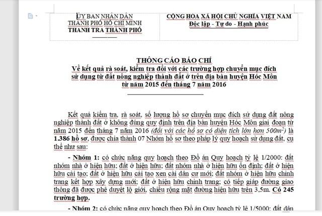 Thông cáo báo chí về kết quả rà soát hàng ngàn hồ sơ sai phạm đất đai tại Hóc Môn, TP HCM.
