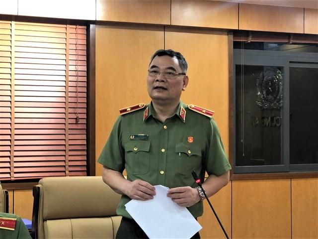 Thiếu tướng Tô Ân Xô, Chánh Văn phòng, người Phát ngôn Bộ Công an báo cáo công tác ngành công an trong năm 2020 (Ảnh: Hồng Phúc).