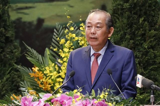 Phó Thủ tướng Thường trực Chính phủ Trương Hòa Bình phát biểu tại Đại hội.