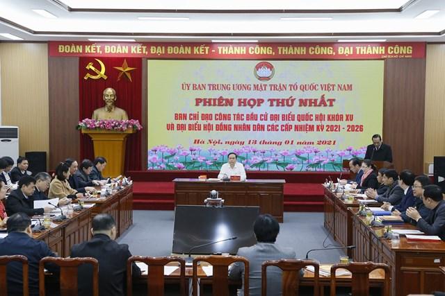 Quang cảnh phiên họp thứ nhất Ban Chỉ đạo công tác bầu cử của UBTƯ MTTQ Việt Nam.