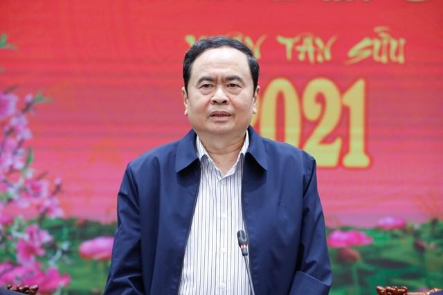 Chủ tịch Trần Thanh Mẫn phát biểu tại buổi gặp mặt.