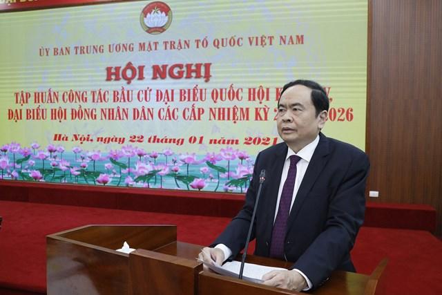 Chủ tịch Trần Thanh Mẫn phát biểu tại Hội nghị.