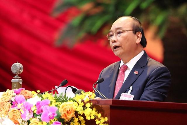 Thủ tướng Chính phủ Nguyễn Xuân Phúcđọc diễn văn khai mạcĐại hội.
