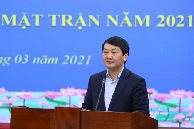 Phó Chủ tịch - Tổng Thư ký Hầu A Lềnh quán triệt nhiệm vụ công tác Mặt trận năm 2021.
