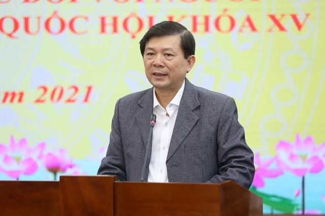 Phó Chủ tịch UBTƯ MTTQ Việt Nam Nguyễn Hữu Dũng phát biểu tại Hội nghị.