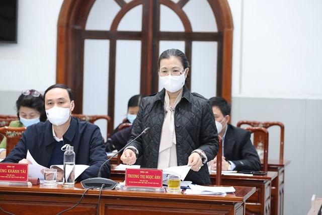 Phó Chủ tịch Trương Thị NgọcÁnh phát biểu tại cuộc họp.