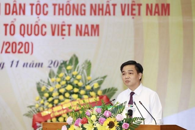 Ông Nguyễn Hưng Vượng, Trưởng ban Dân vận Tỉnh ủy, Chủ tịchỦy ban MTTQ tỉnh Tuyên Quangđọc diễn vănôn lại lịch sử vẻ vang 90 năm MTTQ Việt Nam.