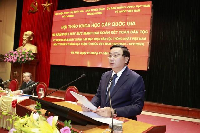 Giám đốc Học viện Chính trị quốc gia Hồ Chí Minh Nguyễn Xuân Thắng phát biểu.