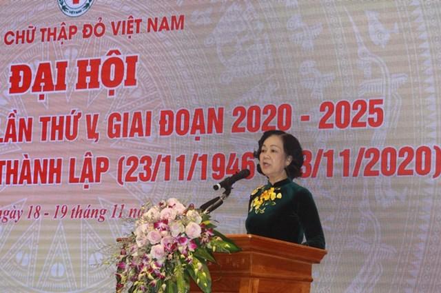 Trưởng ban Dân vận Trungương Trương Thị Mai phát biểu chỉđạo tạiĐại hội.