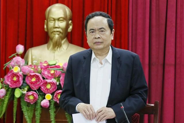 Bí thư TrungươngĐảng, Chủ tịch UBTƯ MTTQ Việt Nam Trần Thanh Mẫn phát biểu tại cuộc làm việc.