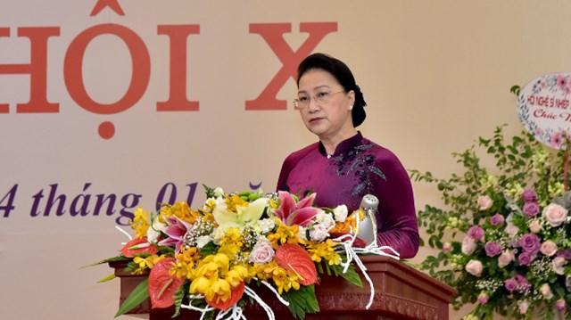 Chủ tịch Quốc hội Nguyễn Thị Kim Ngân phát biểu tạiĐại hội. Ảnh: Lâm Hiển.