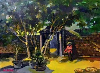 Tác phẩm Nắng sân ở Đường Lâm.