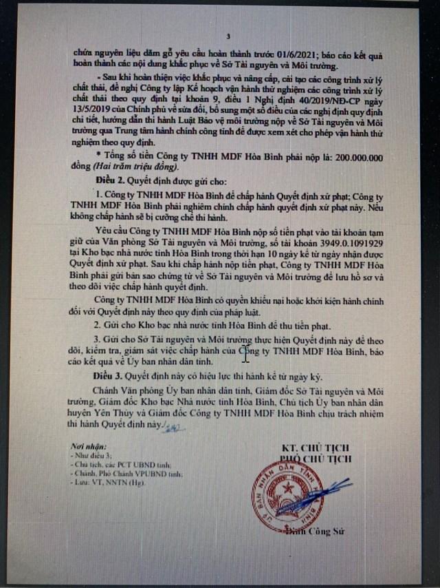 Quyết định xử phạt vi phạm hành chính của UBND tỉnh Hòa Bình đối vớiCông ty TNHH MDF Hòa Bình.