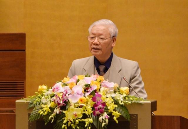 Tổng Bí thư, Chủ tịch nước Nguyễn Phú Trọngphát biểu tại Hội nghị.