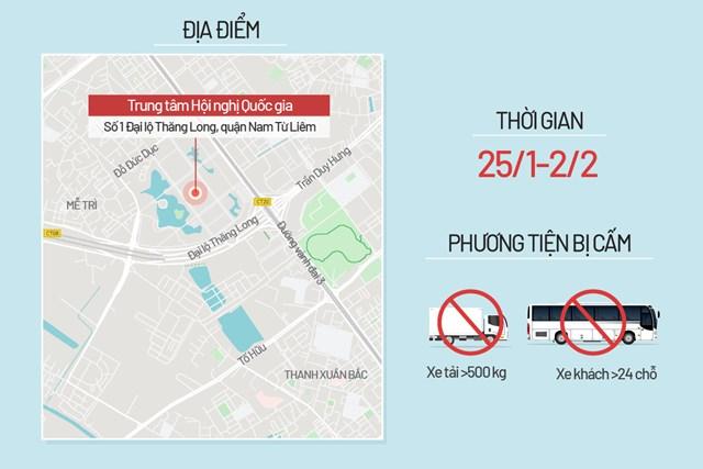 Bản đồ cấm đường phục vụ Đại hội Đảng - Ảnh 1