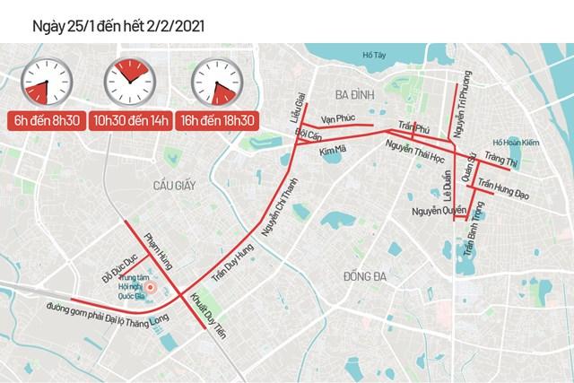 Bản đồ cấm đường phục vụ Đại hội Đảng - Ảnh 2