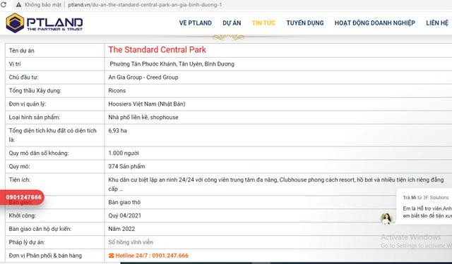 Trang ptland.vn có dấu hiệu thông tin sai sự thật về dự án có tên The Standard Central Park. (Ảnh chụp màn hình).