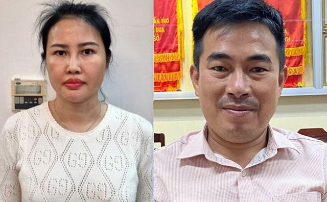 Bị can Hoàng Thị Thúy Nga và Lương Tấn Thành tại cơ quan điều tra. Ảnh:Cơ quan điều tra cung cấp.