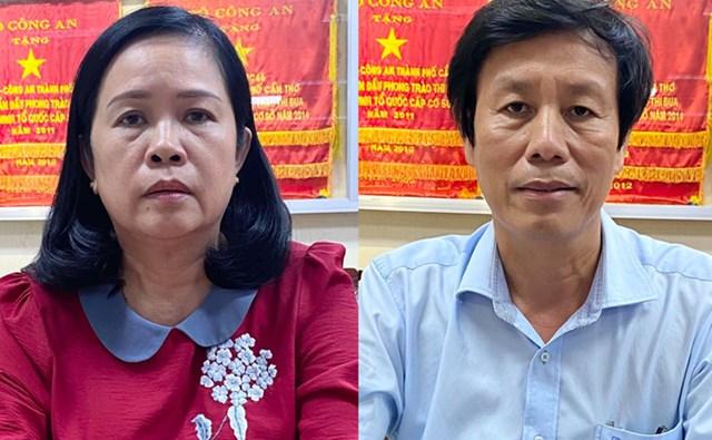 Bà Bùi Lệ Phi và ông Cao Minh Chu khi bị bắt. Ảnh:Cơ quan điều tra cung cấp.