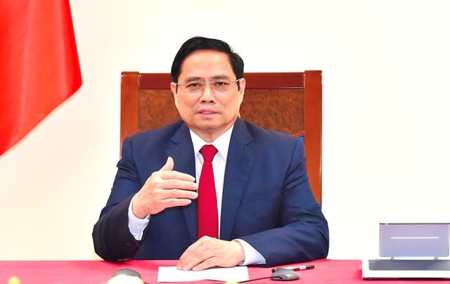 Thủ tướng Phạm Minh Chính điện đàm với Tổng Giám đốc WHO. Ảnh: VGP.