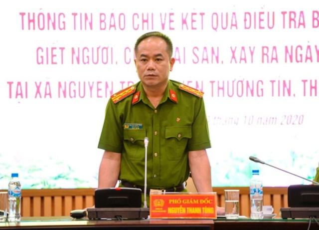 Đại tá Nguyễn Thanh Tùng- Phó Giám đốc Công an TP Hà Nội phát biểu tại buổi họp báo.