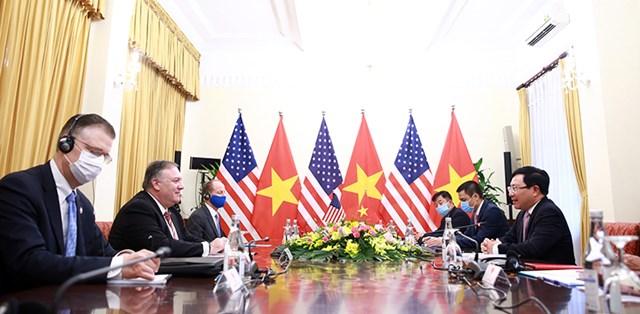 Phó Thủ tướng, Bộ trưởng Ngoại giao Phạm Bình Minh hội đàm với Ngoại trưởng Hoa Kỳ Mike Pompeo.