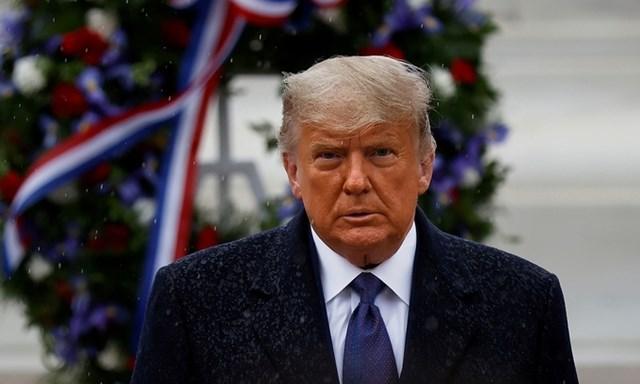 Tổng thống Trump tại Nghĩa trang Quốc gia Arlington ngày 11/11. Ảnh:Reuters.