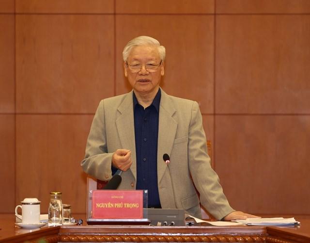 Tổng Bí thư, Chủ tịch nước Nguyễn Phú Trọng phát biểu kết luận cuộc họp. Ảnh: TTXVN.