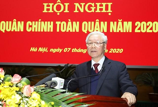 Tổng Bí thư, Chủ tịch nước Nguyễn Phú Trọng phát biểu chỉ đạo Hội nghị Quân chính toàn quân năm 2020 Ảnh: Bộ Quốc phòng.