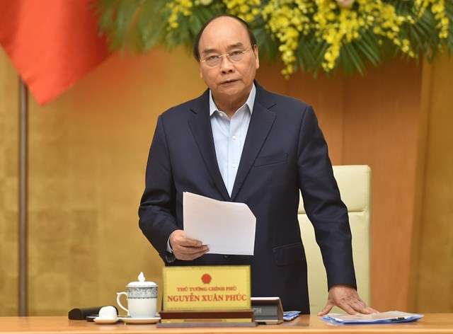 Thủ tướng Nguyễn Xuân Phúc phát biểu kết luận cuộc làm việc với Đoàn Chủ tịch Tổng LĐLĐ Việt Nam.Ảnh: VGP.