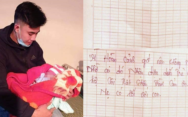 Cháu bé bị bỏ rơi cùng bức thư của người mẹ để lại.
