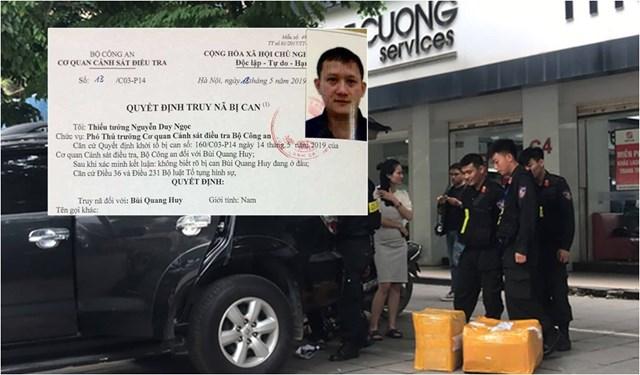Lực lượng chức năng khám xét điểm bán hàng công ty Nhật Cường cùng lệnh truy nã bị can Bùi Quang Huy.