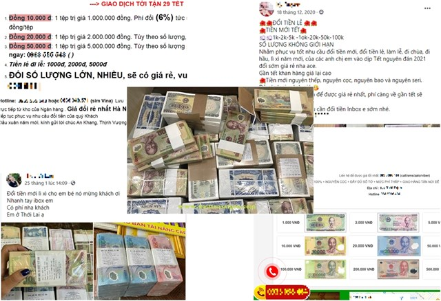Nhiều trang web, tài khoản zalo, facebook quảng cáo, mời chào khách hàng đổi tiền, phục vụ 24/7.
