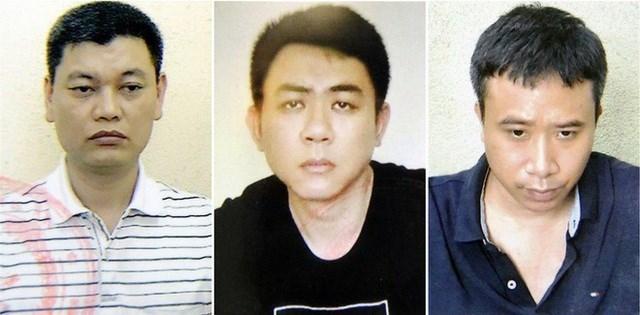 Từ trái qua: Nguyễn Anh Ngọc, Nguyễn Hoàng Trung và Phạm Quang Dũng. Ảnh: Bộ Công an.