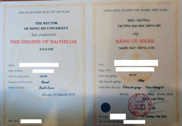 Mẫu bằng cử nhân ngôn ngữ Tiếng Anh - văn bằng 2 Trường Đại học Đông Đô.