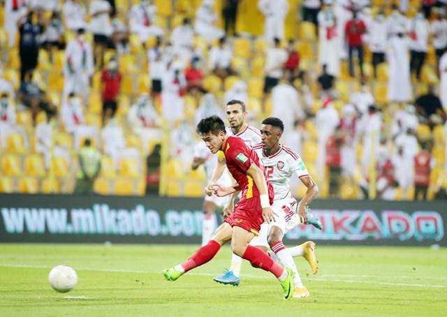 Cầu thủ Tiến Linh ghi bàn vào lưới UAE tại vòng loại 2 World Cup 2022 (Ảnh: 24h.com.vn)