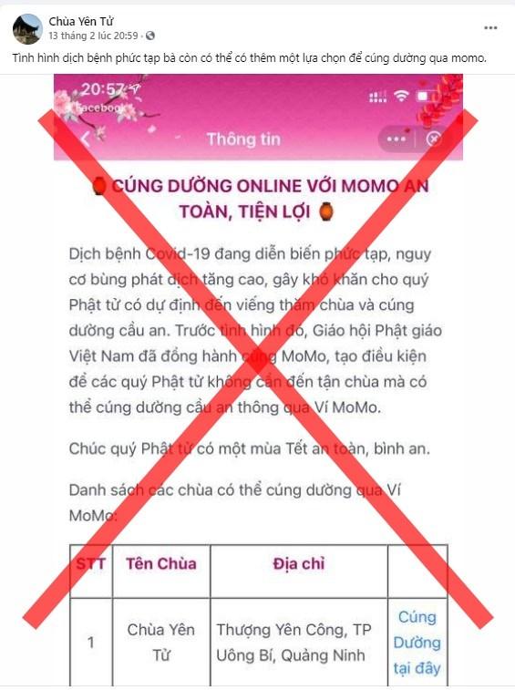 Cảnh báo các trang mạng giả mạo chùa Yên Tử kêu công đức của Phật tử  - Ảnh 1