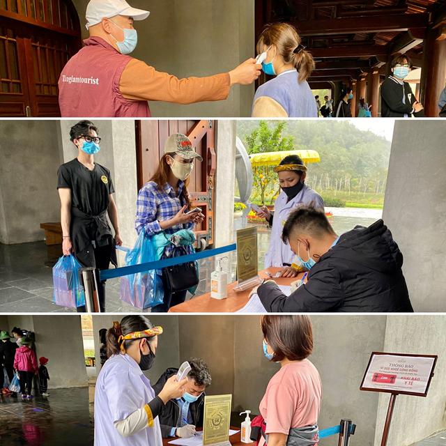 Du khách vào tham quan di tích sẽ được kiểm tra thân nhiệt và khai báo y tế tại 2 vị trí khu vực cổng Khai Tâm – Trung tâm.