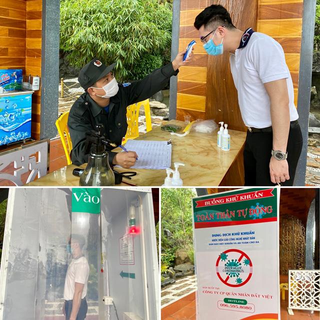 Du khách thực hiện khử khuẩn toàn thân trước khi khai báo y tế tại cổng chùa Ba Vàng.