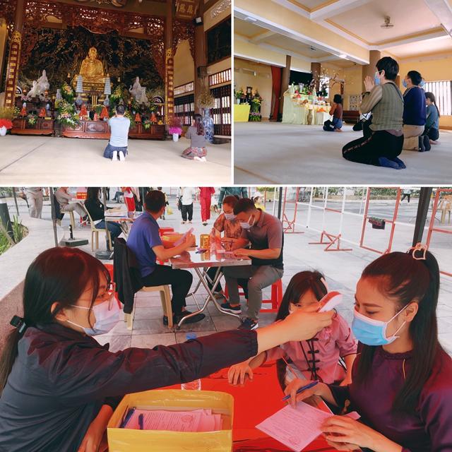 Công tác đảm bảo an toàn phòng chống dịch tại chùa Cái Bầu được thực hiện nghiêm túc.