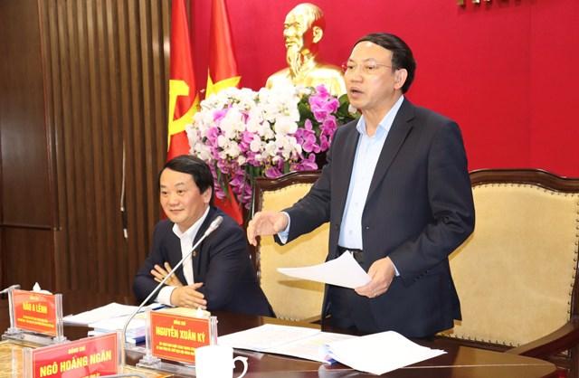 Ông Nguyễn Xuân Ký, Ủy viên Trung ương Đảng, Bí thư Tỉnh ủy, Chủ tịch HĐND tỉnh Quảng Ninh phát biểu tại buổi làm việc.
