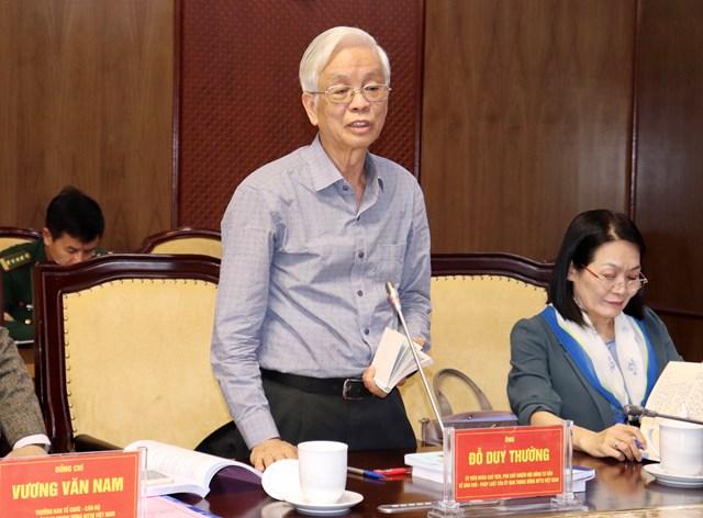 ÔngĐỗ Duy Thường,Ủy viênĐoàn Chủ tịch UBTƯ MTTQ Việt Nam phát biểu tại buổi làm việc.