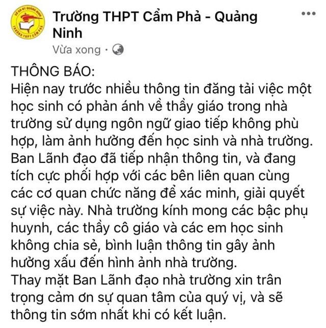 Thông báo trên Facebook của Trường THPT Cẩm Phả sau khi nắm được thông tin ban đầu về vụ việc.