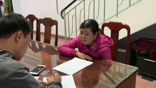 Huỳnh Thị Đoá tại cơ quan Công an.