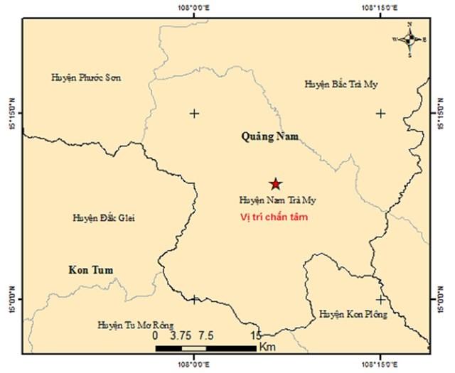Vị trí tâm chấn xảy ra động đất ở khu vực huyện Nam Trà My. (Ảnh Viện vất lý địa cầu).